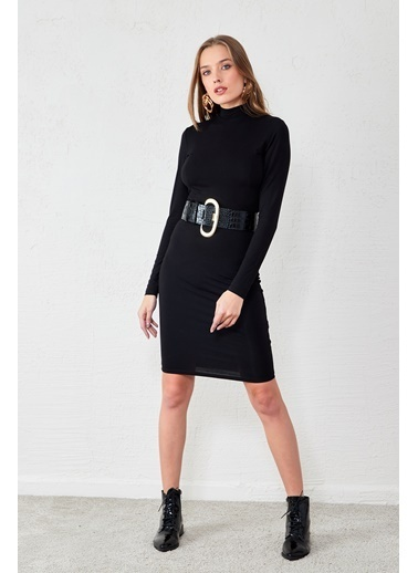 EKA Yarım Balıkçı Elbise Siyah